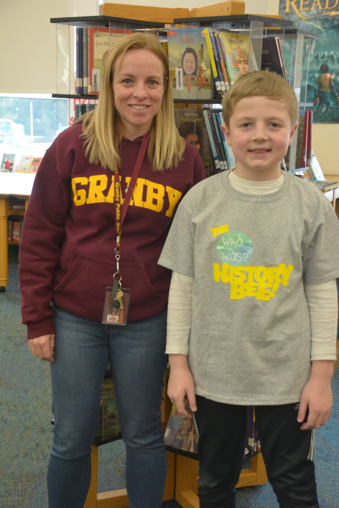 Wells Road's History Bee winner with Mrs. Busbey